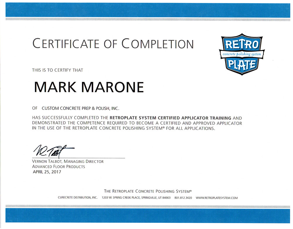 RetroPlate Certification