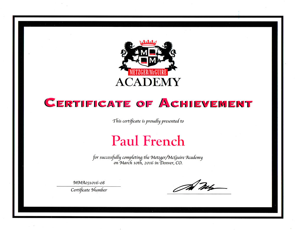 Metzger Academy Certification