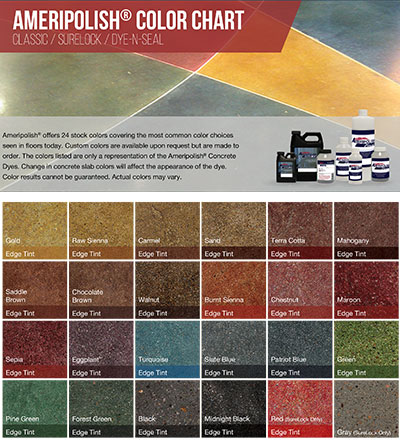 AmeriPolish Color Chart Custom Concrete Prep and Polish