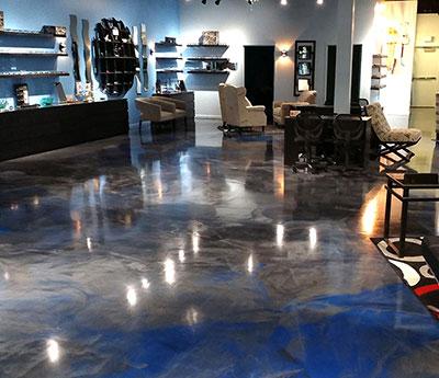 Decorative Epoxy Flooring Custom Concrete Prep and Polisy